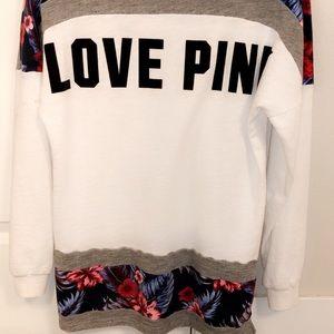 PINK tropical print sweatshirt